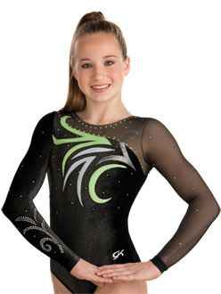 Abstract Floral Competition Leotard from GK Elite http://www.gkelite.com/Gymnastics-SpecialOrderDesignStudio-WomensLongSleeveLeotards/7567