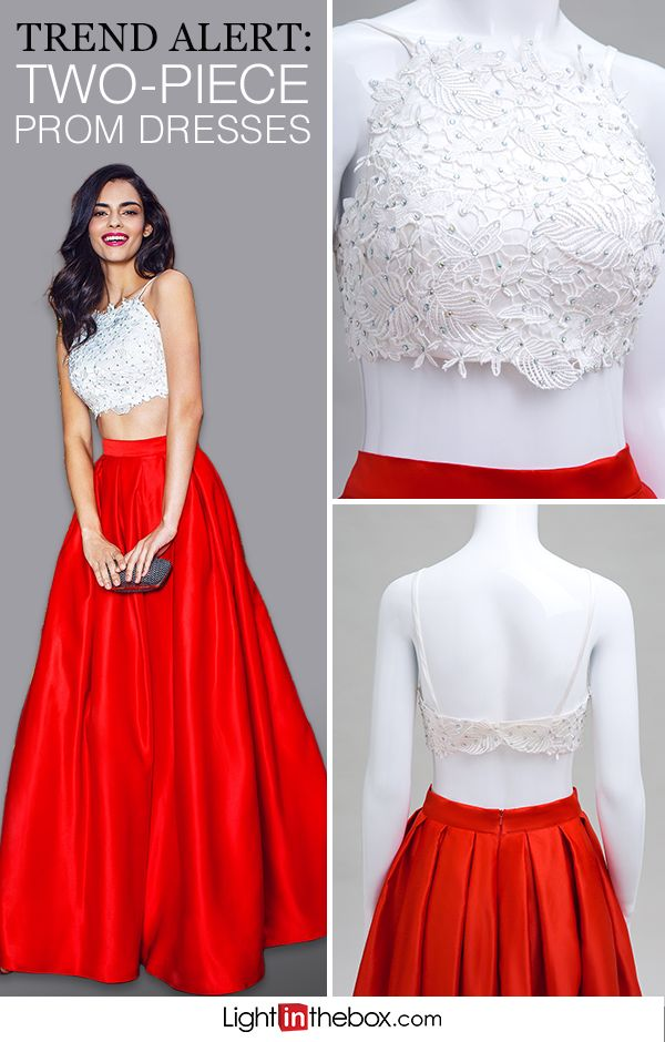 Leave an impression in a two-piece dress that's sure to impress. This gown has an ivory beaded lace bodice with a satin skirt that comes in dozens of colors. Choose from burgundy, black, champagne, chocolate, candy pink and so many more, and make this look totally unique to you. Shop prom dresses at lightinthebox.com.