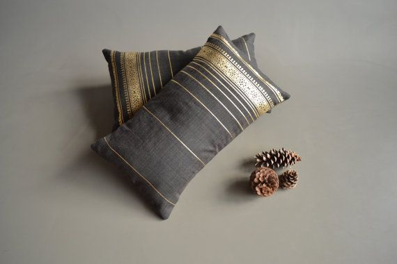 black and gold lumbar cushion covers