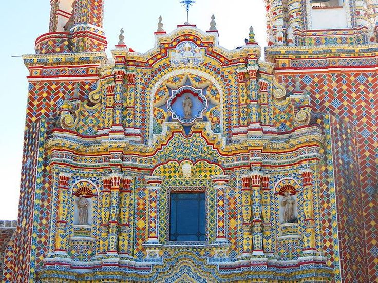 """detalle de la Fachada de """"San Francisco de Acatepec"""" //1560-1760//Puebla, Mexico"""