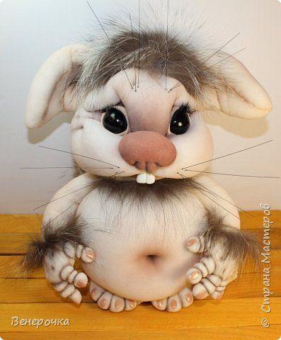 Чудогрызик кукла из капрона и синтепона в технике скульптурный текстиль фото 1