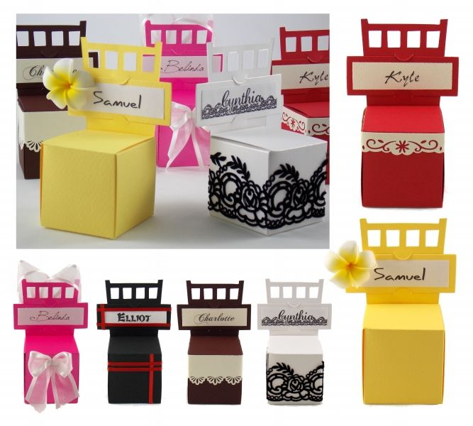 Chair Box with Place Card complete with mini yellow frangipani, a great addition to any beach or frangipani themed event.