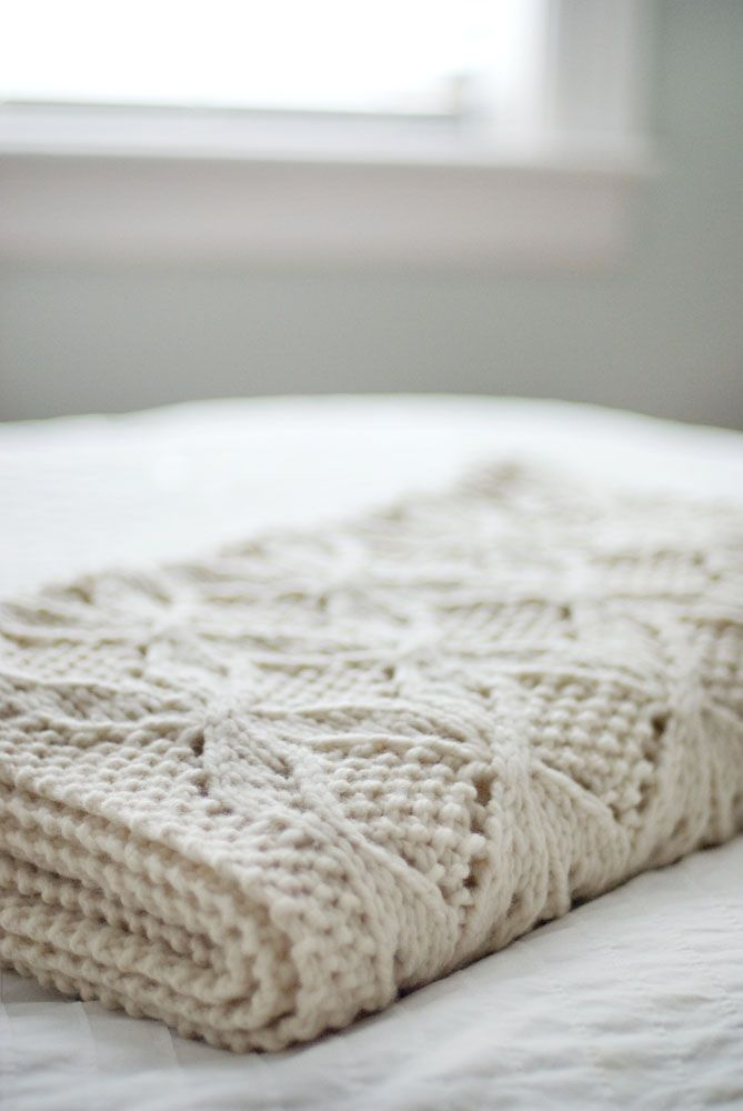 Natural knit blanket