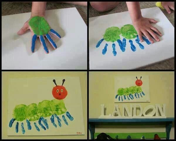 Finger painting The Very Hungry Caterpillar