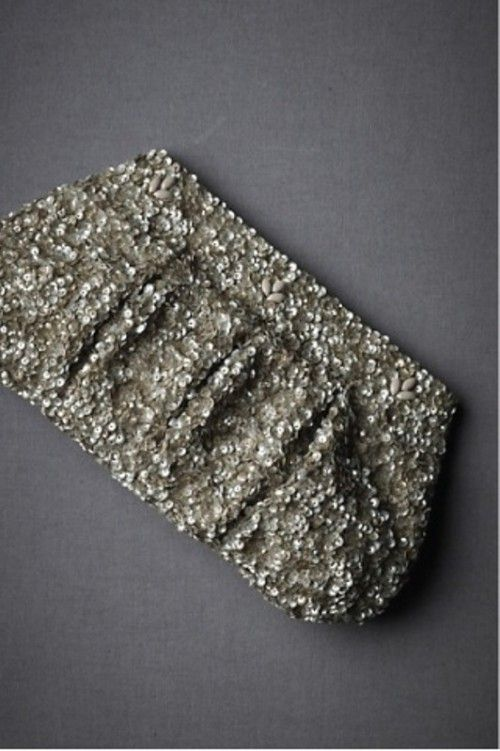 glitter grey bridesmaid clutch