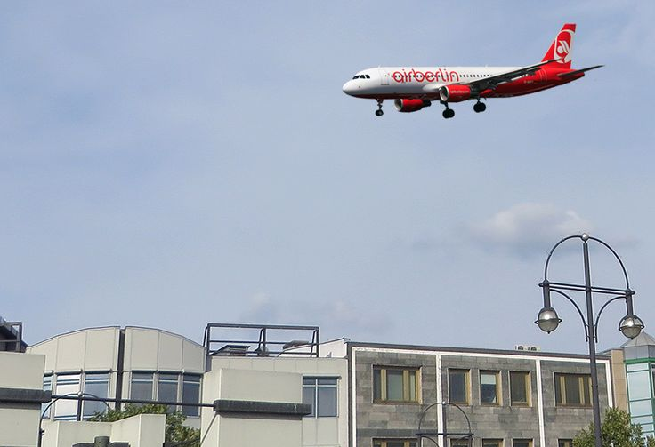 Aeroplanes soar directly above Berlin's Kurt-Schumacher-Platz as they come in to land. Hair-raising, but fun!