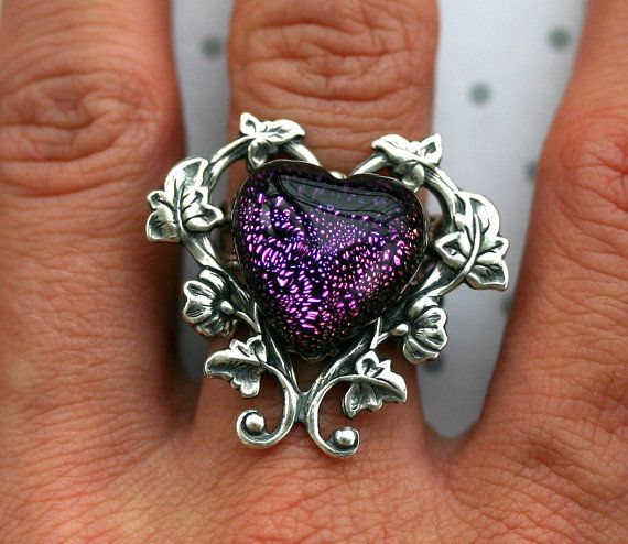 Purple Heart Statement Ring  Victorian Gothic by robinhoodcouture, $36.00
