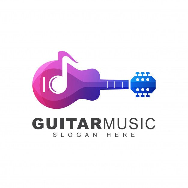 Modern Color Guitar Music Note Gradient Logo Template In 2020 Music Logo Design Gradient Logo Colorful Logo Design