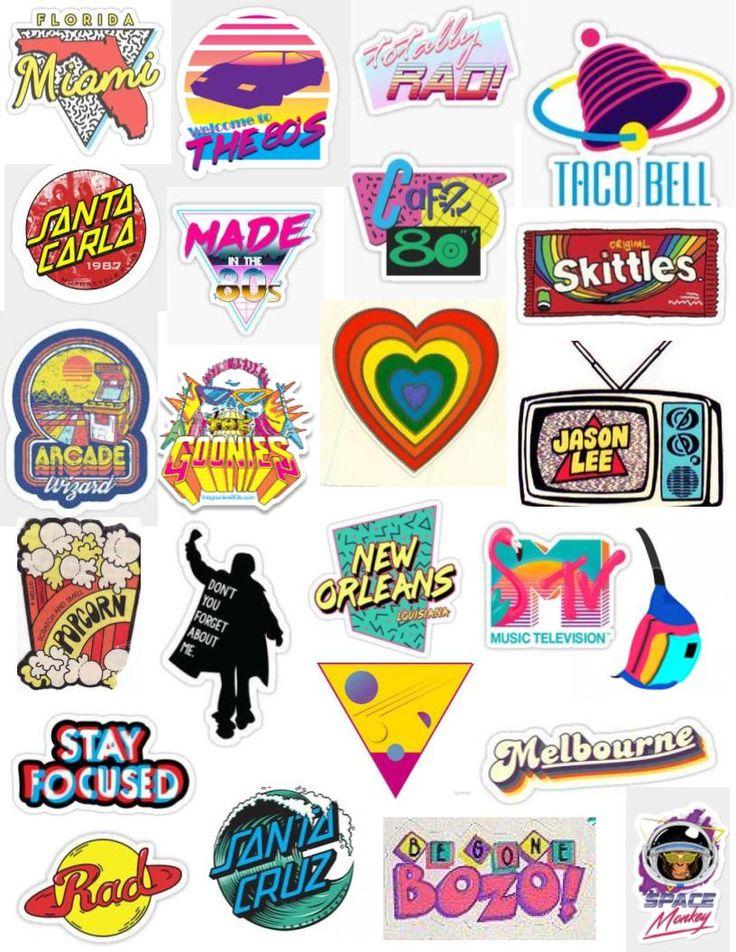 80s aesthetic sticker pack bright rainbow vibrant retro