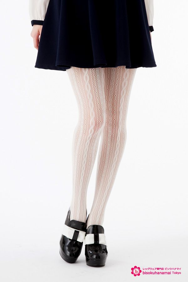 Cable stripe net tights JPY350-