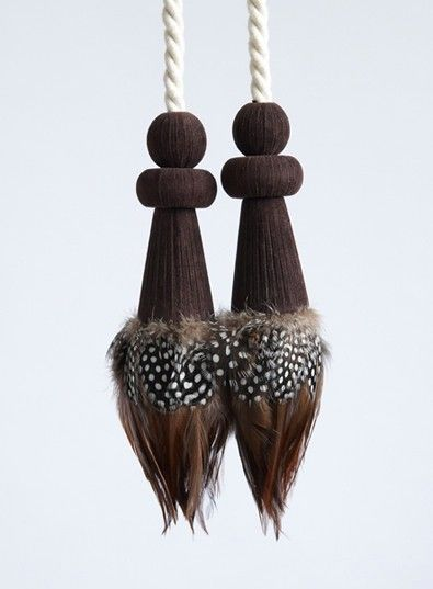 ALCANTARA AND GUINEA FOWL FRINGED TIEBACK DETAIL - FEATHER TIEBACKS - CURTAIN TIEBACKS AND TIE-BANDS