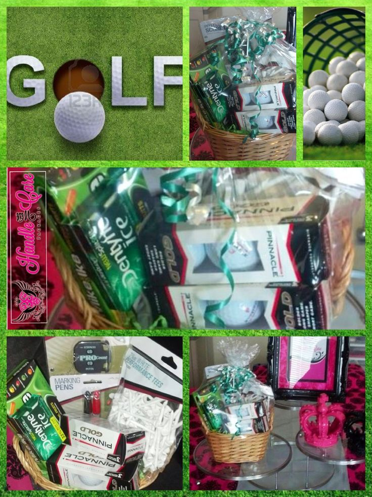 Golf is a recurring theme for gift baskets. They are great ...