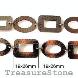 Chain, brass, copper-finished, 19x25mm. Sold per pkg of 1 meter