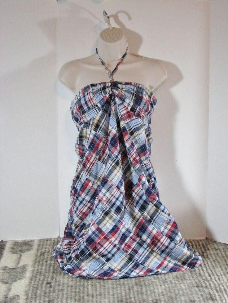 Ann Taylor Loft Petites Madras Plaid Patch Halter Sundress Dress 10P Sleeveless #AnnTaylorLOFT #Casual