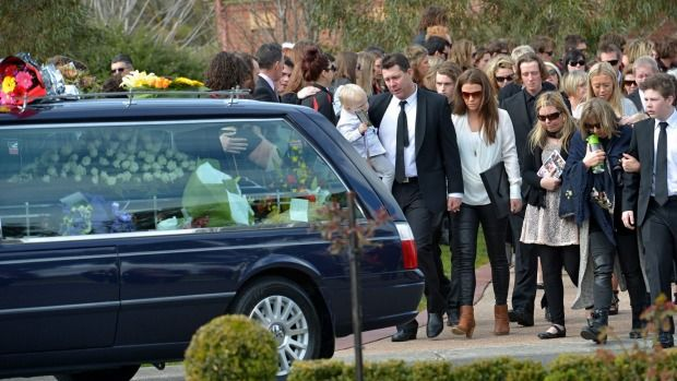 Cooper Ratten's family say their final farewells after he was killed in a car accident in August.