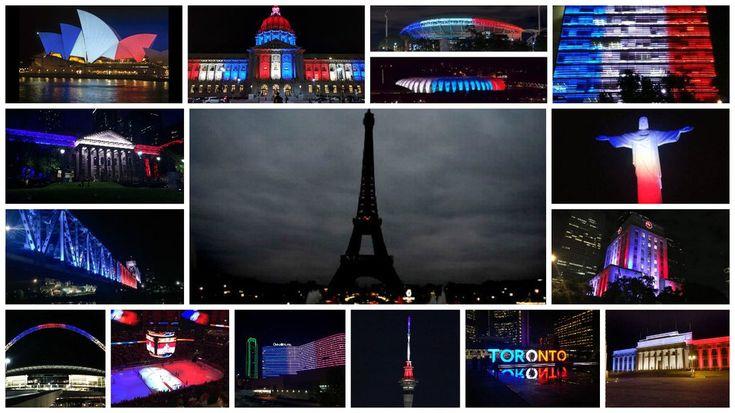 Des monuments du monde entier s'illuminent aux couleurs de la France - Image