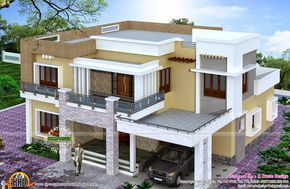 Top View of 2800 Square Feet (260 Square Meter) (311 Square Yards) modern house exteriors (Top, front side elevations included). Designed by X Trude Design, Kasaragod, Kerala. | 5 bedrooms ♣ | http://www.keralahousedesigns.com/2015/02/different-views-of-2800-sq-ft-modern.html