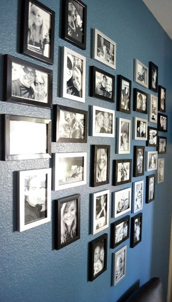 Heart shaped Photo art Wall display. Frame placement. Framing ideas. Picture hanging. Collage. Montage. Grouping. Layout. Black & white