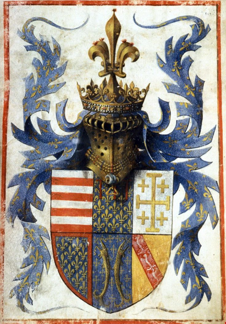 Barthélemy d'Eyck - Coat of Arms of René d'Anjou, King of Naples (c. 1442)...  http://speciesbarocus.tumblr.com/archive