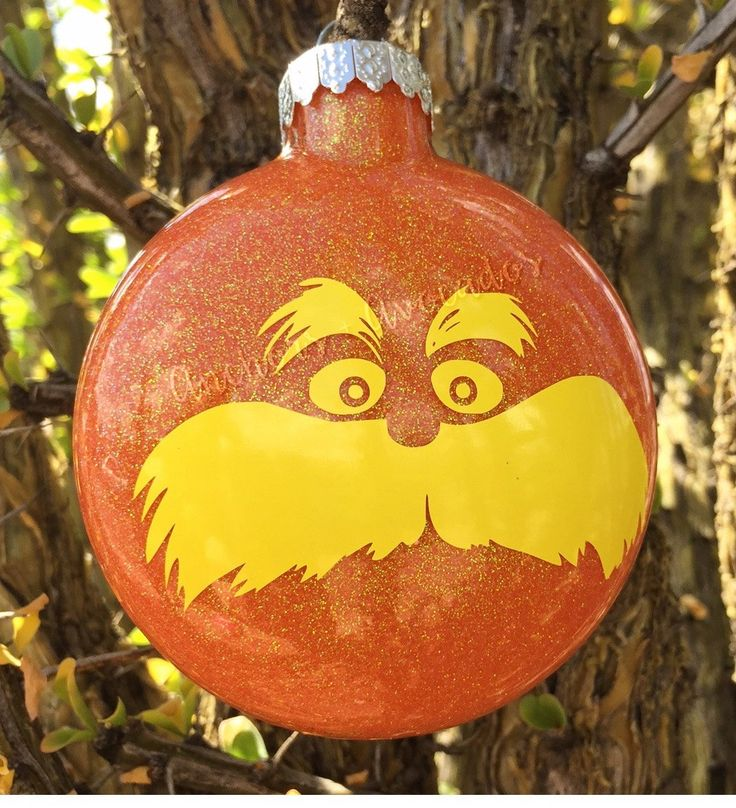 Lorax, Lorax Ornament, Orange Ornament, Dr. Suess, Glitter Ornaments, The Lorax, Christmas Ornaments, Personalized Ornaments, Cartoons, by AnchorsAndAvocados on Etsy