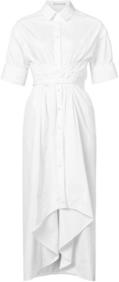 White Story Elizabeth Lace Up Corset Shirt Dress