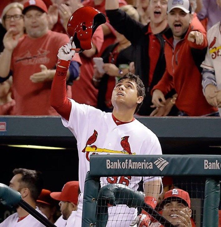 Aledmys Diaz honors his childhood friend Jose Fernandez with a go-ahead grand slam to help lead the Cardinals to a 12-5 victory over Cincinnati, September 27, 2016.