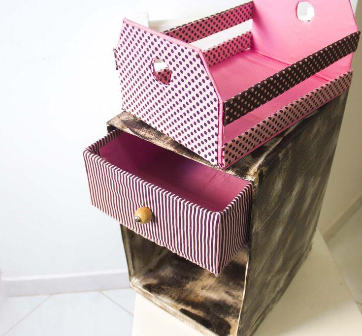 Mini-criado de caixa de papelão  || CANAL DA JULANI ✂️ Artesanato