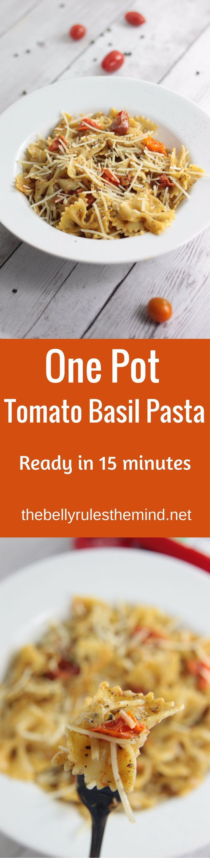 The easiest ever one pot pasta recipe for a quick weeknight dinner using Dorot. A perfect summer meal with fresh flavors of Tomatoes and Basil ready in 15 minutes. |www.thebellyrulesthemind.net @bellyrulesdmind