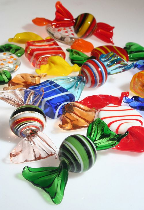 glass candy (by artisticsaufi) My grandmother Maria had these displayed in a beautiful candy dish in her china cabinet. I love Murano glass. /PH