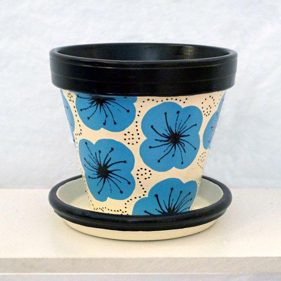 Hand Painted Flower Pot  Poppy Whimsie Pot by Michele Cordaro Design, $11.00. http://MicheleCordaroDesign.etsy.com