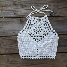 Festival Halter Crochet Crop Top Natural by NorthernLoopKnitwear
