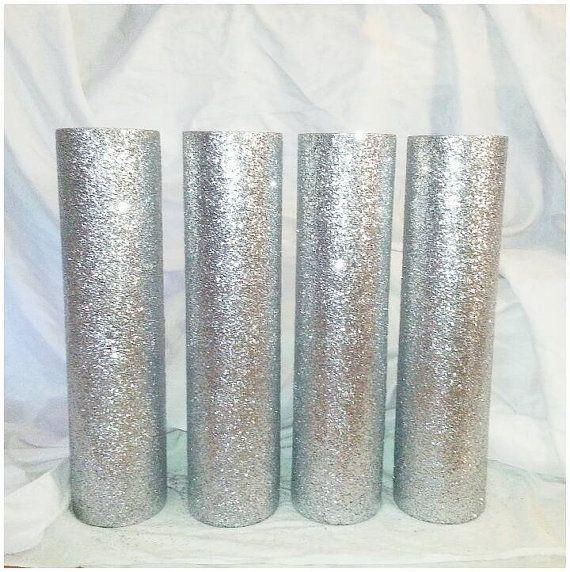 Glittered vase, Tall wedding vases, 20 inch vase, Wedding centerpiece vase, Tall…