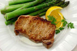 Côtelettes de porc marinées aux asperges