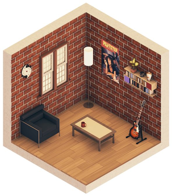 Urban Room #1 (Isometric) by error-23.deviantart.com on @deviantART