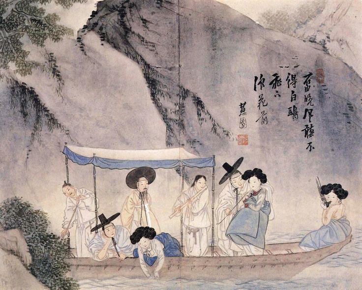 Wolha jeongin, from Hyewon pungsokdo drawn by Shin Yun-bok, or Hyewon presumed after 1805