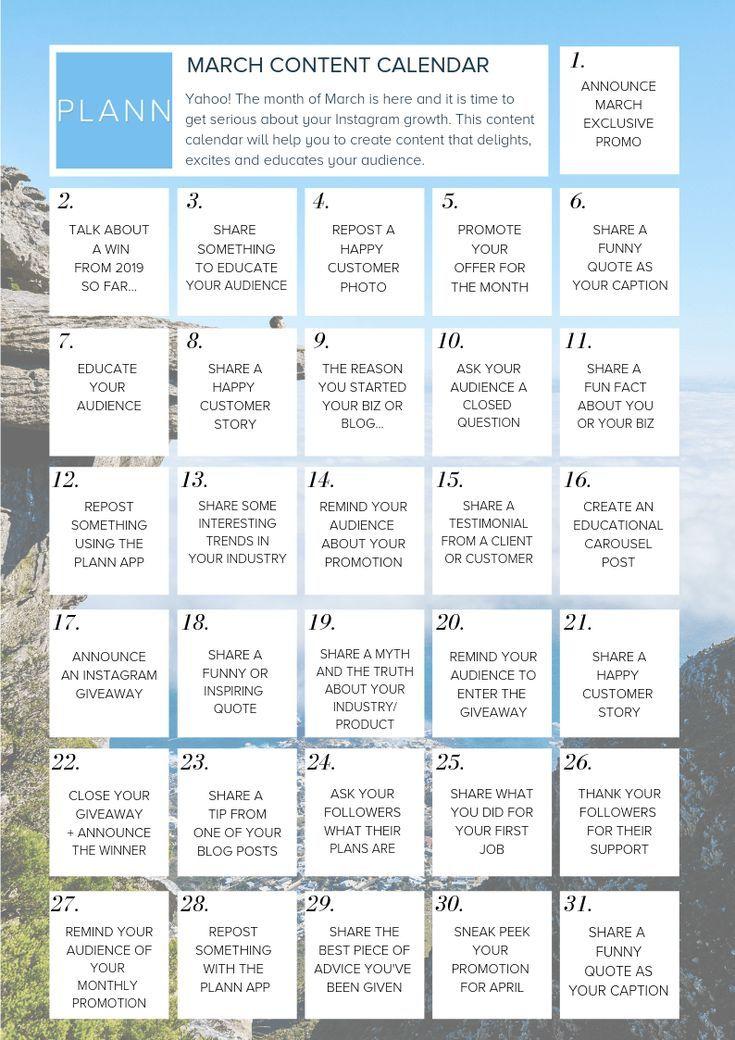 30 days of instagram content for musicians social media marketing quotes social media marketing strategy facebook instagram music 31 Content Ideas Your March Instagram Content Calendar Instagram Content Calendar Social Media Planner Social Media Content Calendar