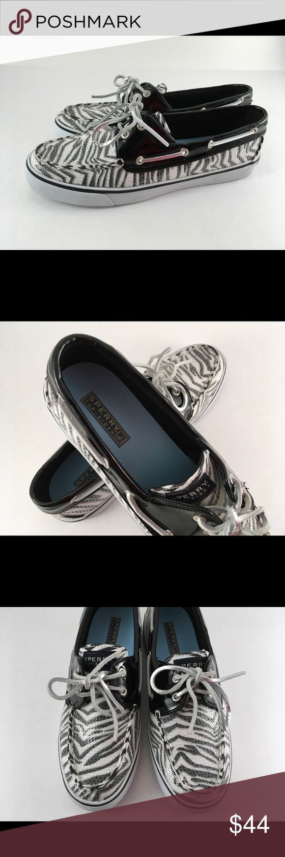 🔅NWOT SPERRY Top Sider Shoes Size 9🔅 Awesome Sperry Top Sider sequins zebra print deck shoe. Size 9. New without tags. Never worn. These are so fun and unique! Sperry Shoes Flats & Loafers