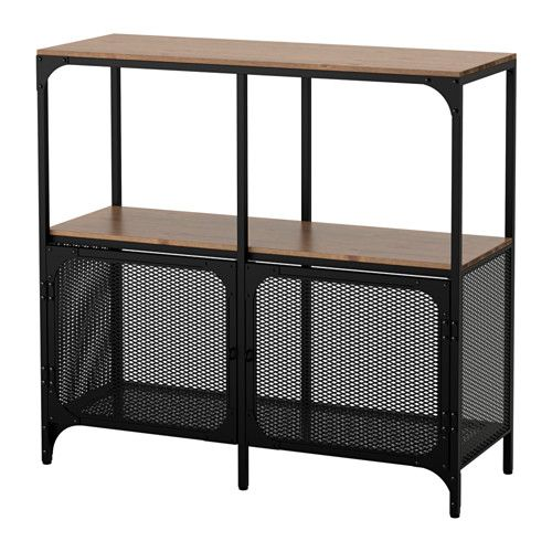 IKEA - FJÄLLBO, シェルフユニット, , スチールと無垢材製の素朴なシェルフユニット。背板がないため、コードの整理も電源の確保も簡単ですシンプルなユニットは限られたスペースで収納力を発揮します。ものが増えたら、ユニットを追加してもっと大きなソリューションもつくれます足の高さを微調整できるので、平らでない場所でも安定します