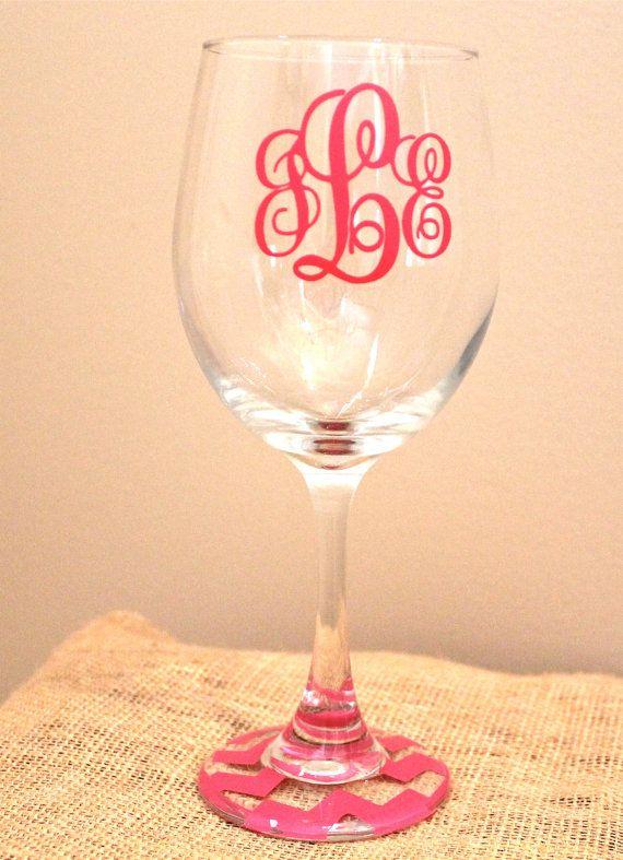 chevron monogram wine glass MANY COLORS by monogramsandsew on Etsy, $10.00