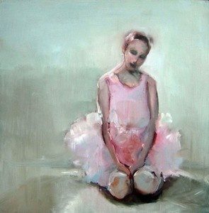 Kneeling Ballerina by Sharleen Boaden - oil