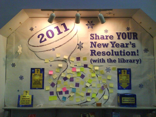 Share Your Resolution! - The display encouraged patrons to write their own new year resolution onto Post-It Notes and add them to the wall. Smaller signs provided links to additional information about what resolutions are, and a box of pre-written resolutions were offered for those who wanted to randomly select one for themselves.