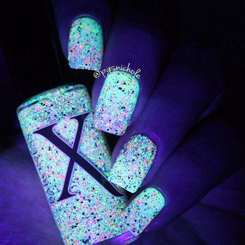 Nail Polish - Neon Bubbles - Black, Silver Holo & Neon Microglitter Polish