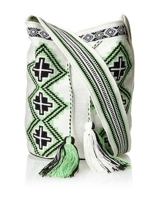 70% OFF Amelia Toro Women's Geometric Printed Satchel Bag with Beaded Details (Neon Green/Midnight/White)