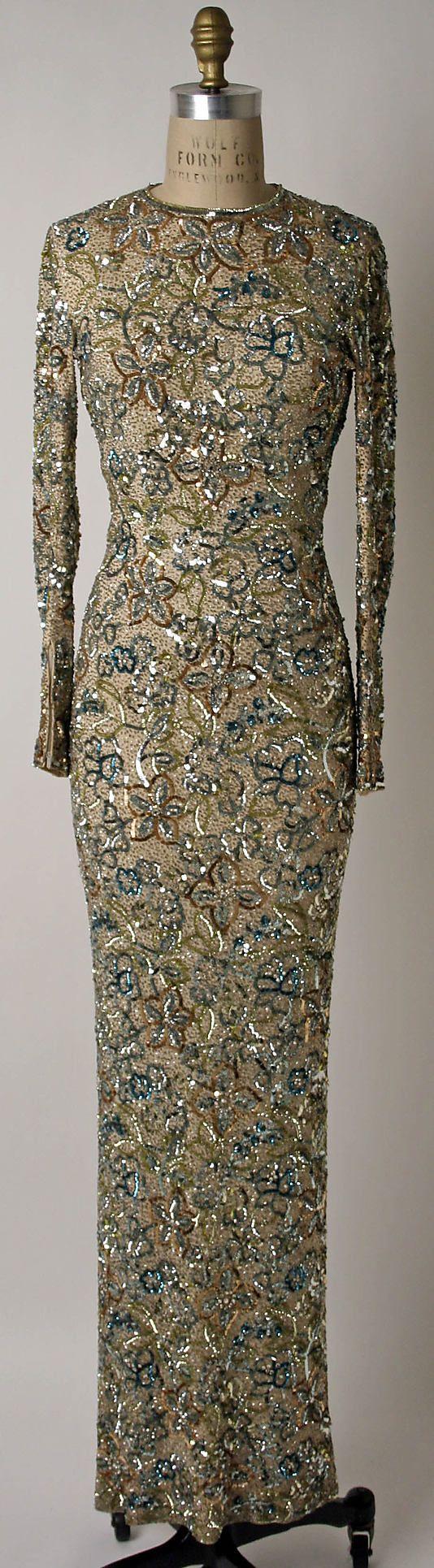 Dress, Evening  Norman Norell (American, Noblesville, Indiana 1900–1972 New York City)  Date: 1950–65 Culture: American Medium: silk, plastic, rhinestones