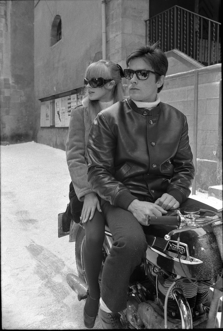 Alain Delon, a Norton, and  Marianne Faithful on the set of The Girl on a Motorcycle.