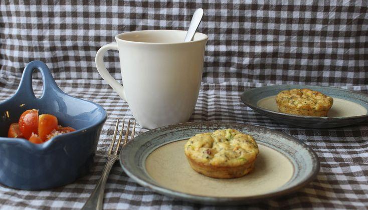 Squashmuffins med tomat og bacon (LCHF) - Fru Kofoeds Køkken