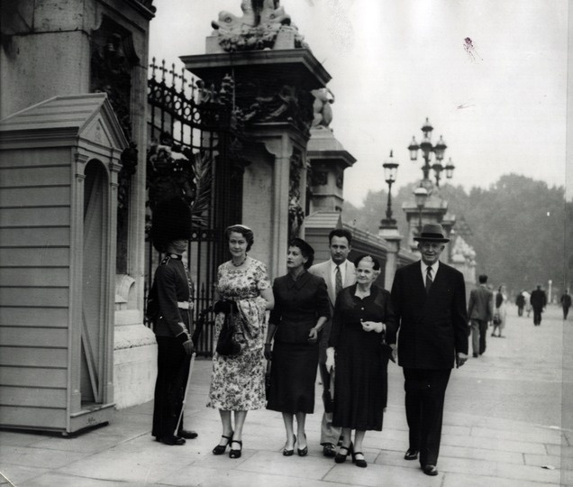 "The original caption on this photo from Aug. 24, 1955, says: ""Group of Salt Lake City residents pass guard outside Buckingham Palace in London during sightseeing tour yesterday. In group are David O. McKay, right, president of the Salt Lake City Tabernacle Choir, his wife, second from right, their son and daughter-in-law, Dr. and Mrs. Edward McKay, and Miss Clare Middlemiss, left also of Salt Lake. The choir is currently on a European tour."" (Tribune file photo)Buckingham Palace"