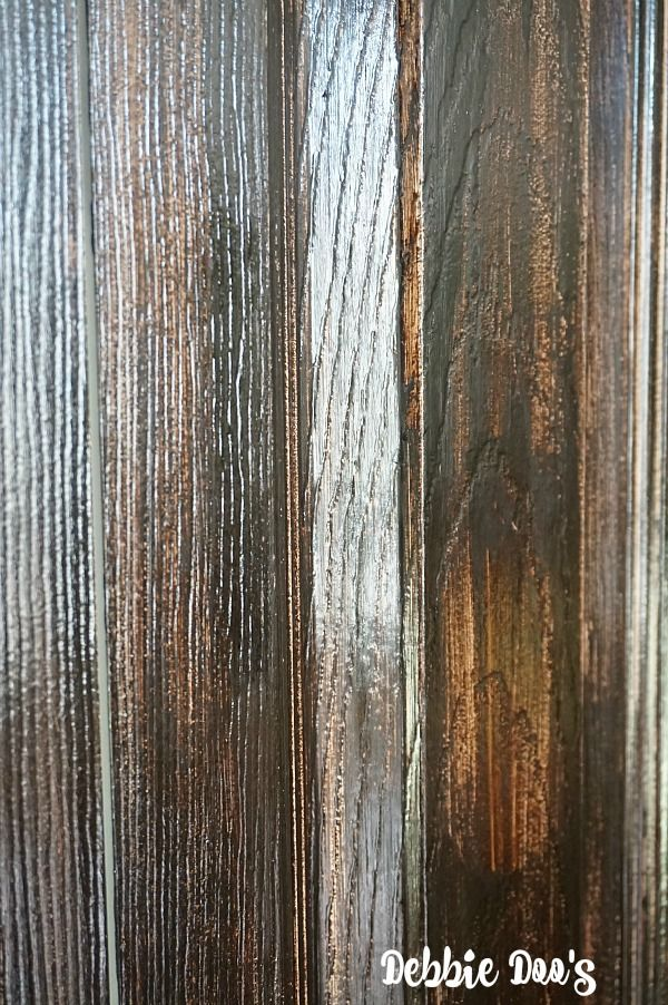 Fake wood grain look with gel stain and stain by minwax..maybe a top fix until I decide what I want for front door?