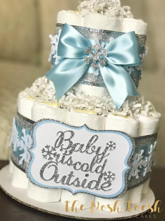Snowflake Baby It's Cold Outside Diaper Cake, Blue Silver White Winter Wonderland Boy Diaper Cake, B