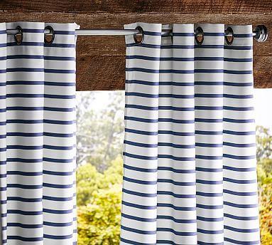 """Sunbrella(R) Mini Brice Stripe Indoor/Outdoor Drape, 50 x 124"""", Ivory/Cobalt"""